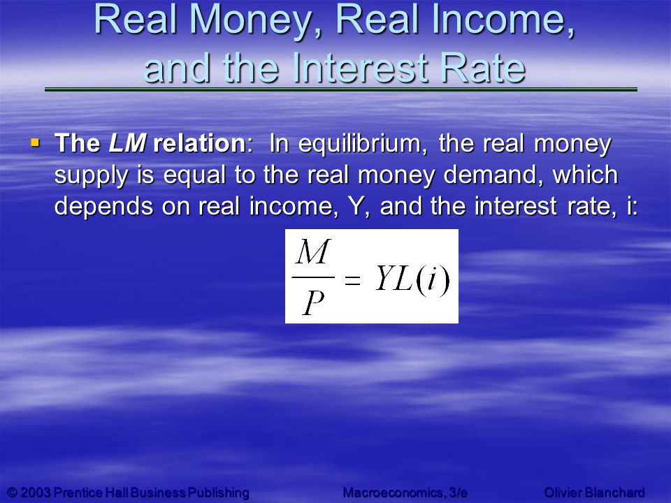Real Money, Real Income, and the Interest Rate