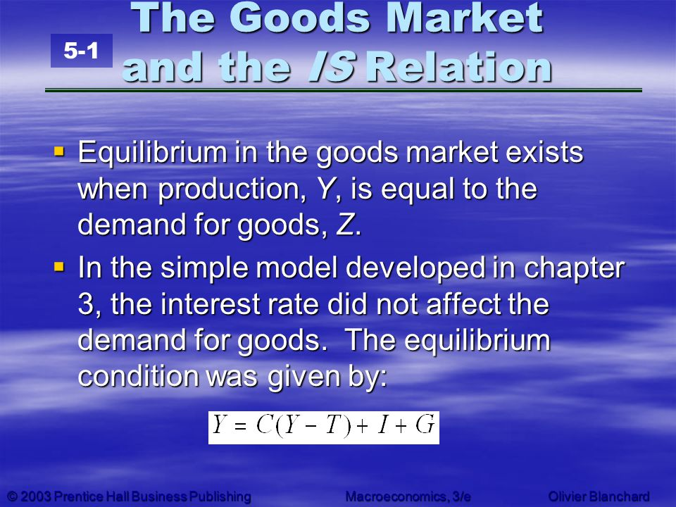 The Goods Market and the IS Relation