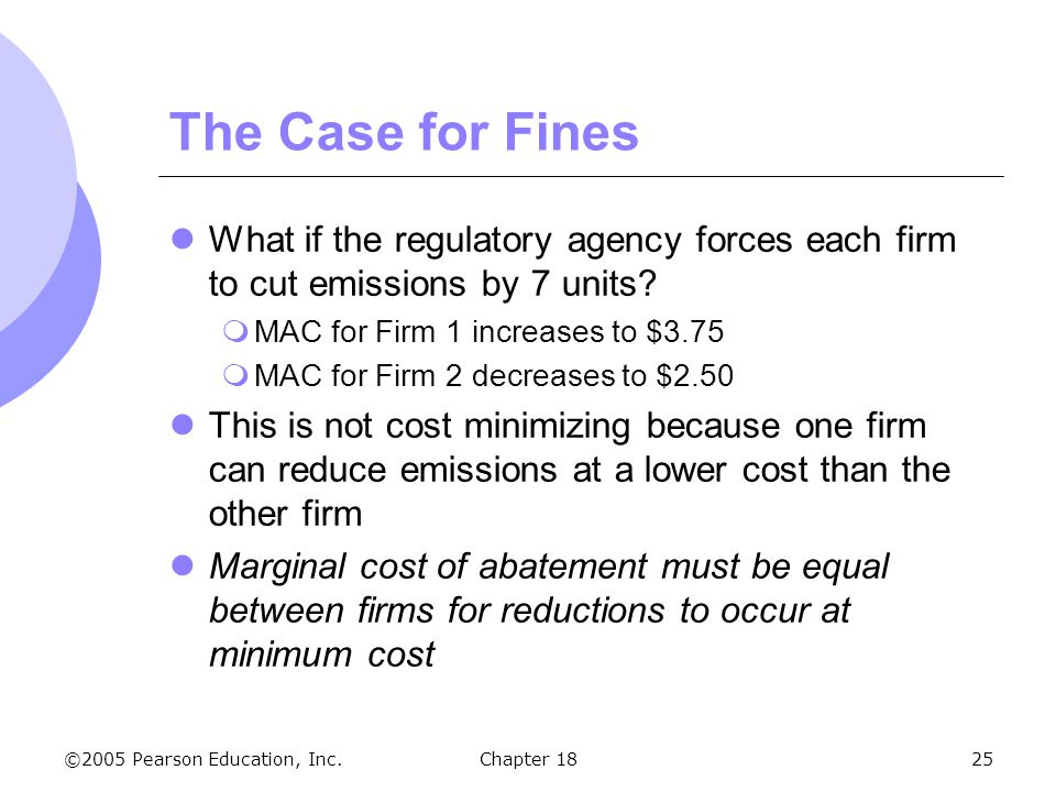 The Case for Fines What if the regulatory agency forces each firm to cut emissions by 7 units MAC for Firm 1 increases to $3.75.