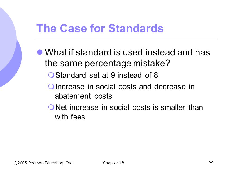 The Case for Standards What if standard is used instead and has the same percentage mistake Standard set at 9 instead of 8.