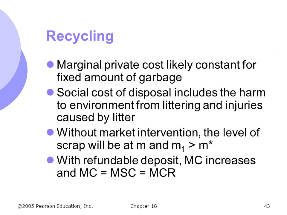 Recycling Marginal private cost likely constant for fixed amount of garbage.