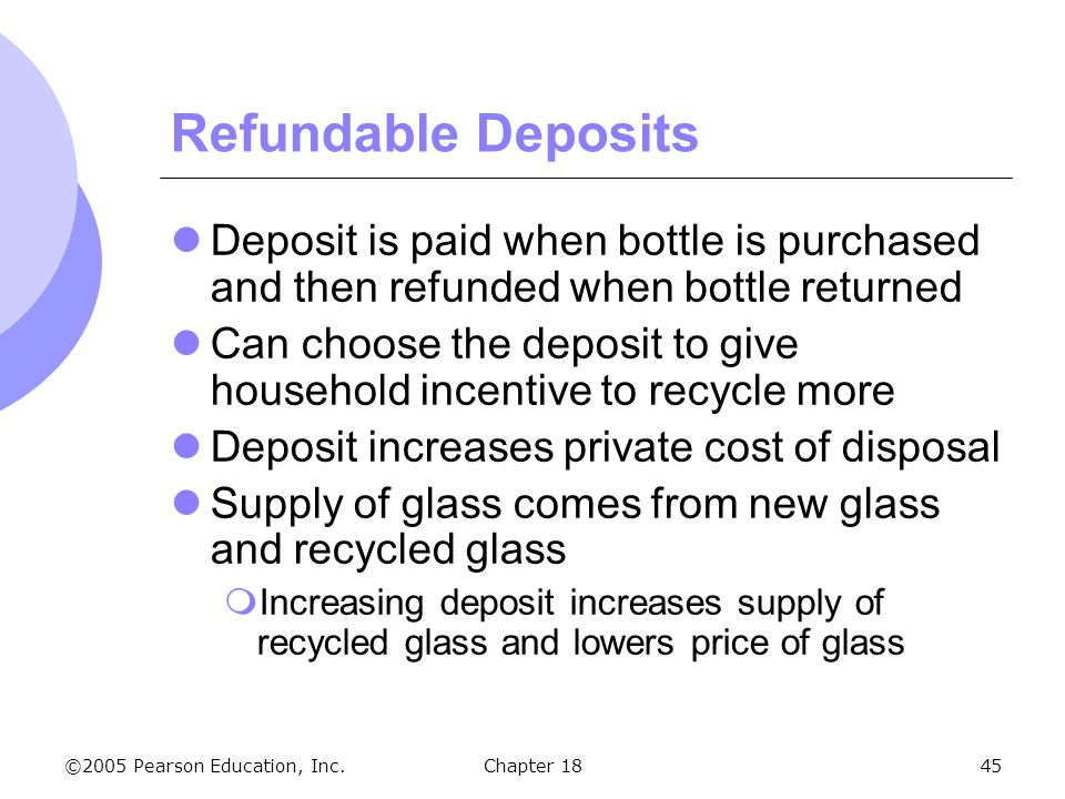 Refundable Deposits Deposit is paid when bottle is purchased and then refunded when bottle returned.