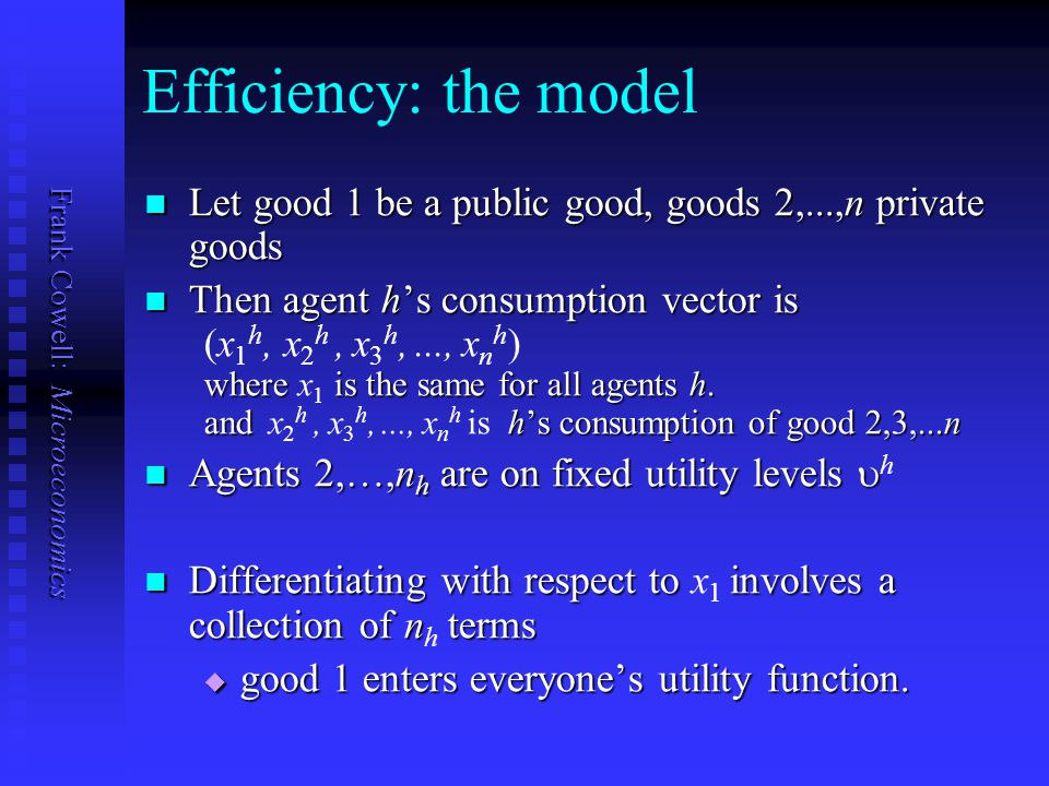 Efficiency: the model Let good 1 be a public good, goods 2,...,n private goods. Then agent h's consumption vector is.
