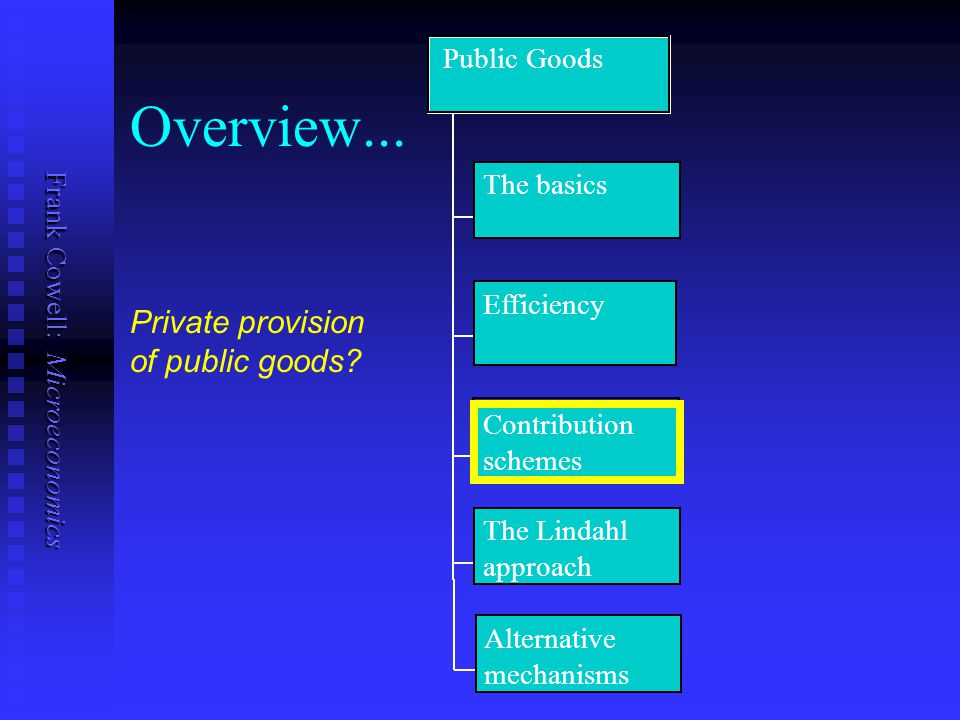 Overview... Private provision of public goods Public Goods The basics