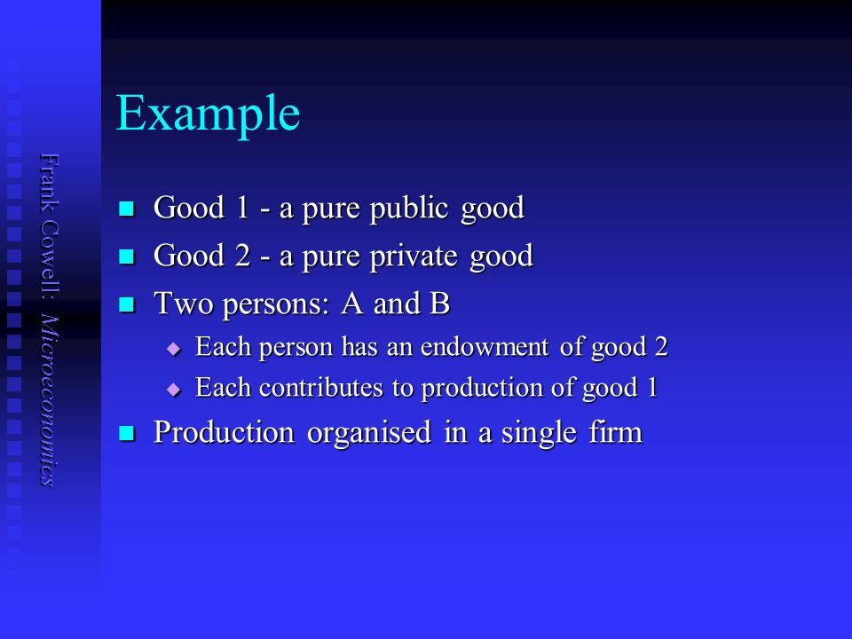 Example Good 1 - a pure public good Good 2 - a pure private good