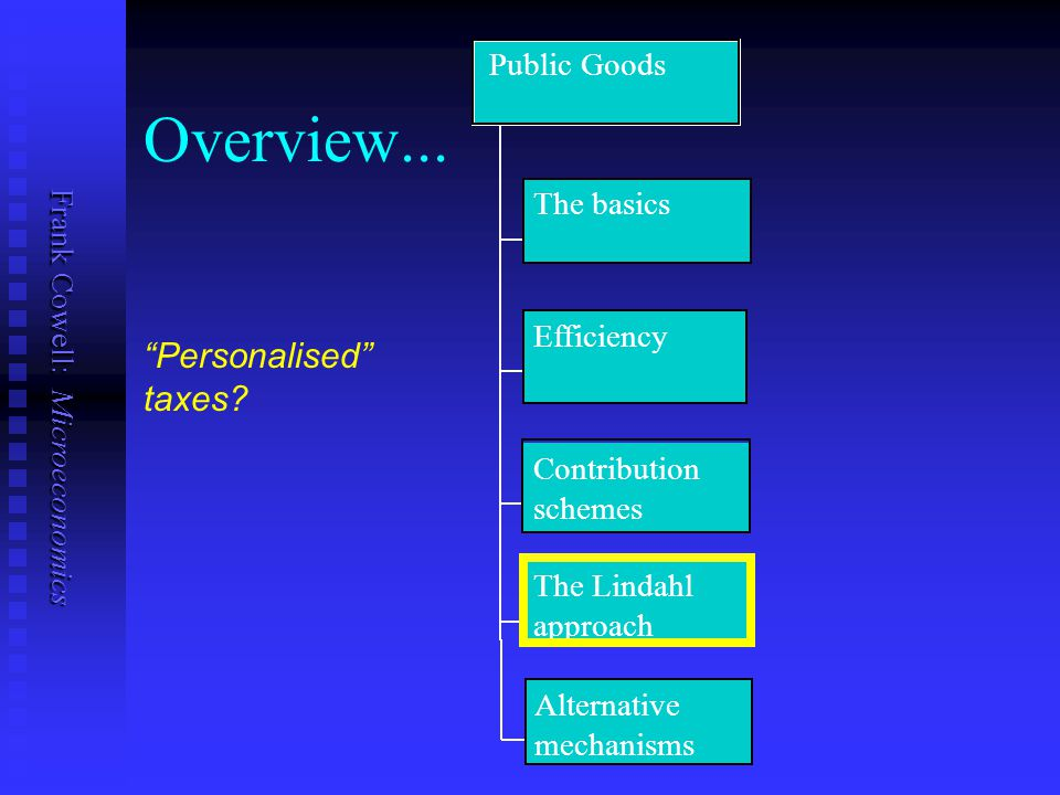 Overview... Personalised taxes Public Goods The basics Efficiency