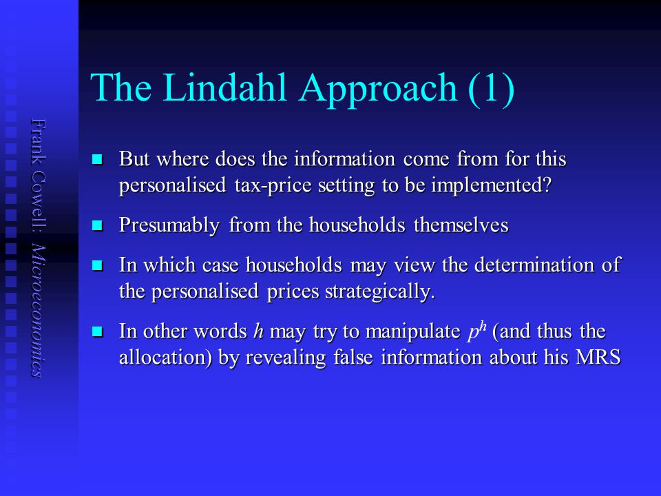 The Lindahl Approach (1)