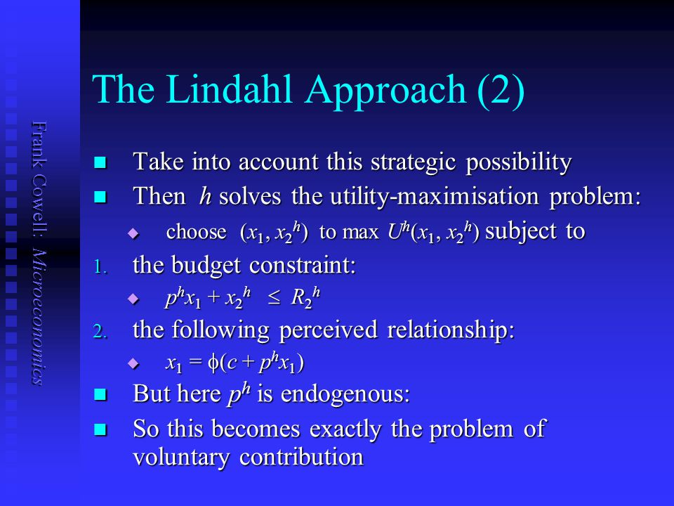 The Lindahl Approach (2)