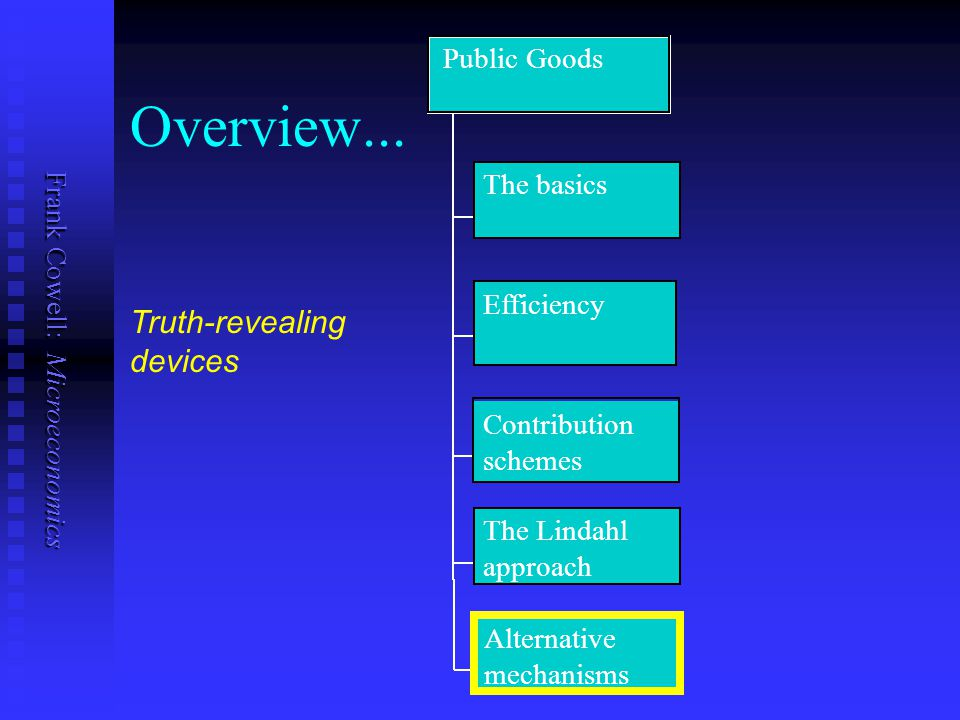 Overview... Truth-revealing devices Public Goods The basics Efficiency