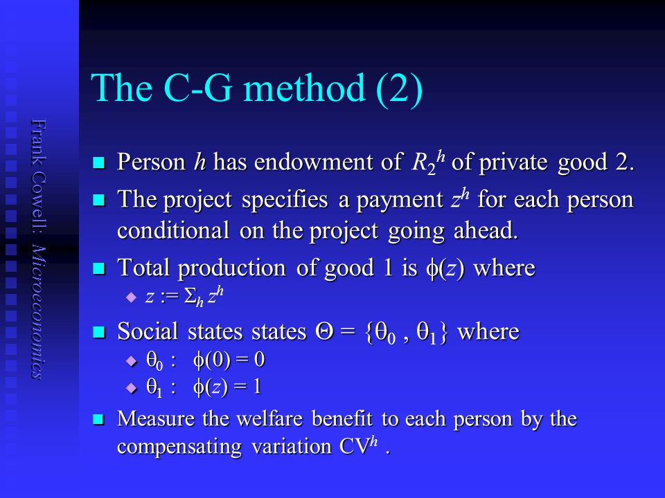 The C-G method (2) Person h has endowment of R2h of private good 2.