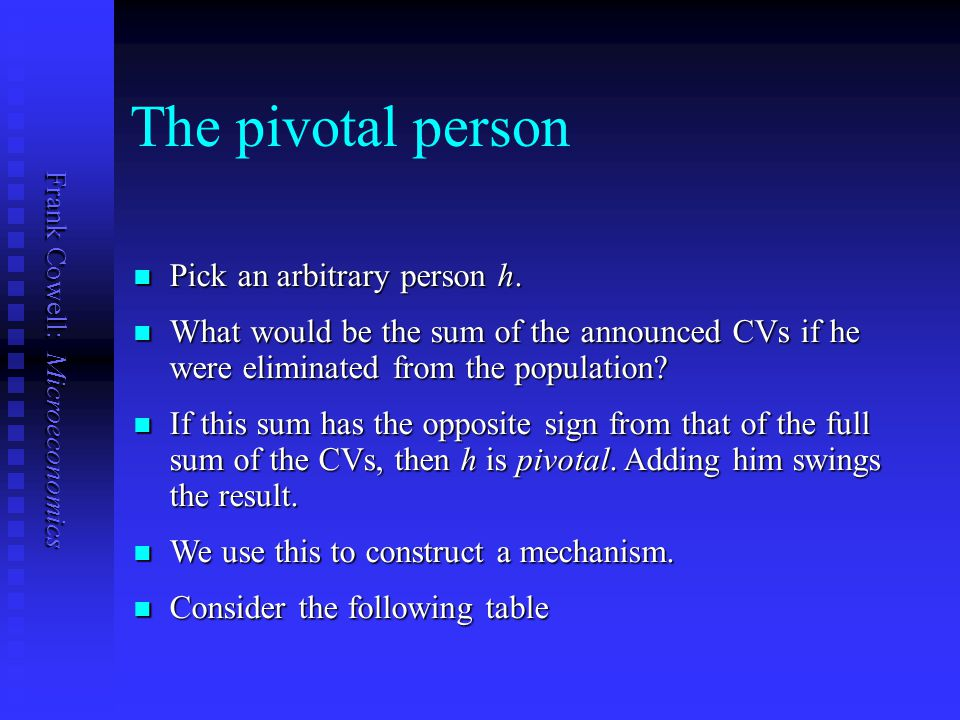 The pivotal person Pick an arbitrary person h.