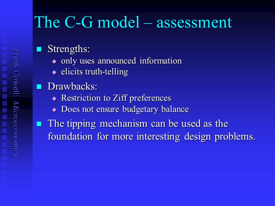 The C-G model – assessment