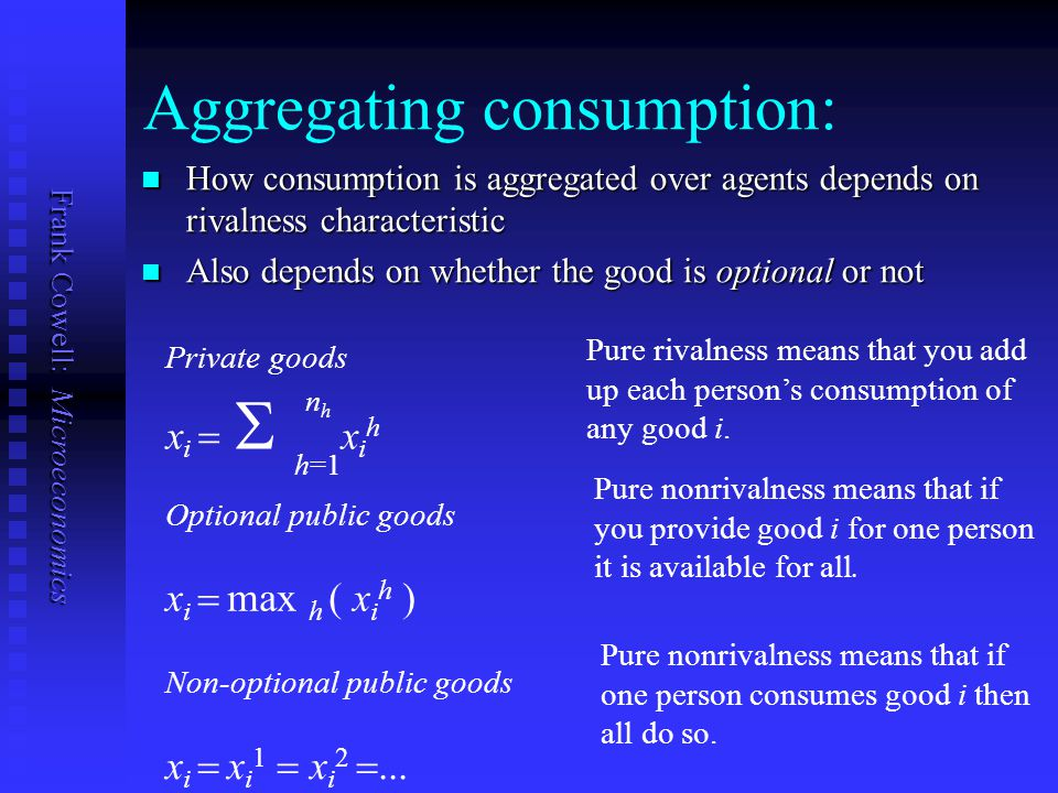Aggregating consumption: