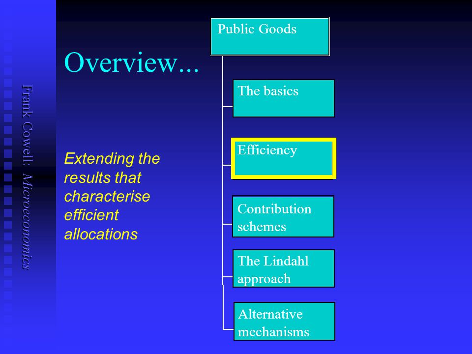 Public Goods Overview... The basics. Efficiency. Extending the results that characterise efficient allocations.
