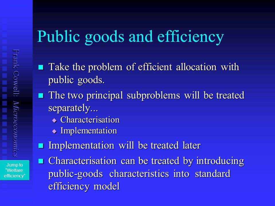Public goods and efficiency