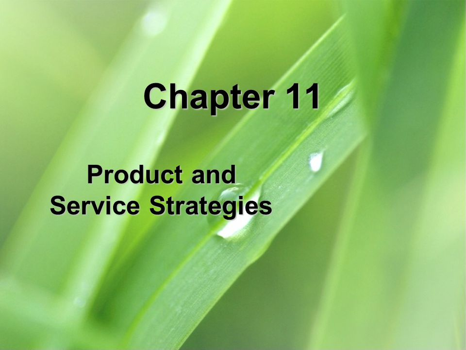 Product and Service Strategies