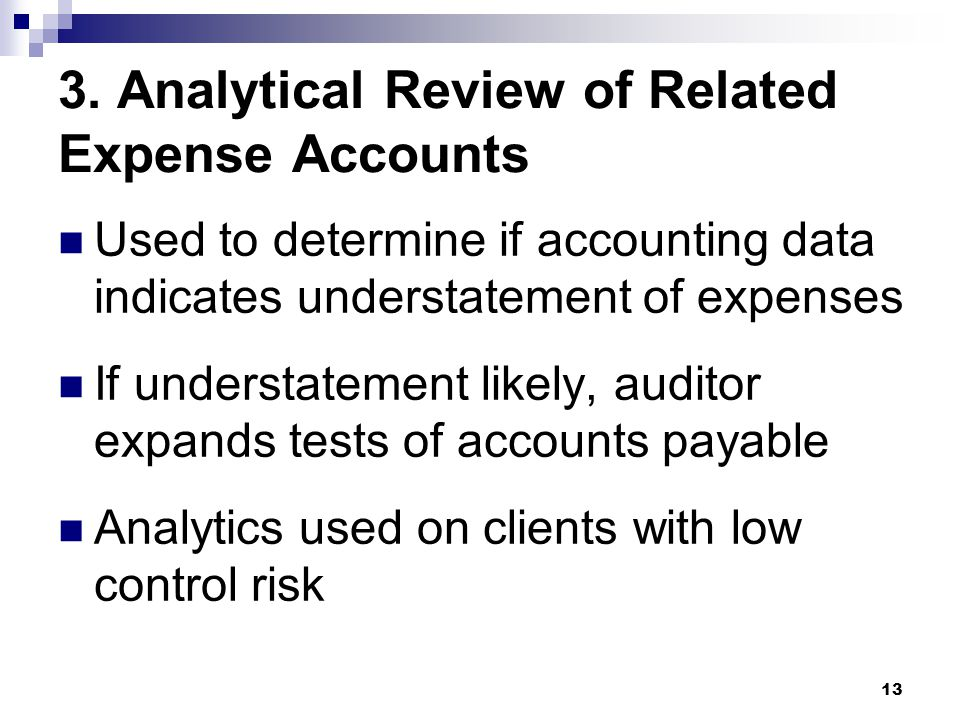 3. Analytical Review of Related Expense Accounts
