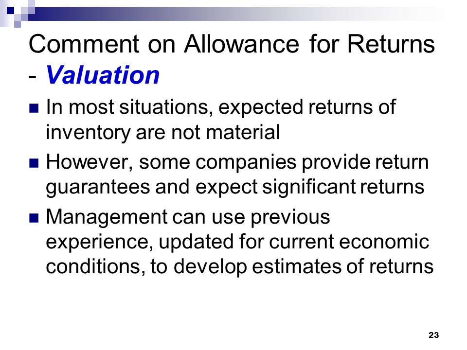Comment on Allowance for Returns - Valuation