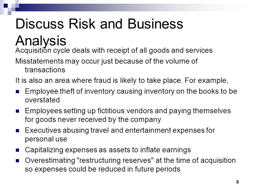 Discuss Risk and Business Analysis