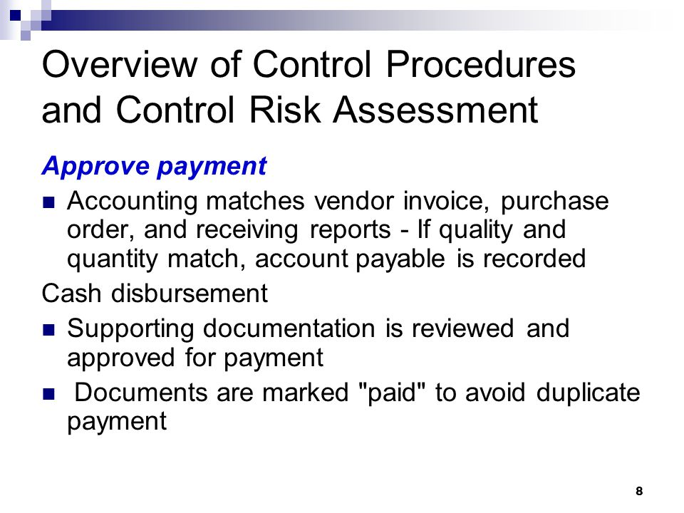 Overview of Control Procedures and Control Risk Assessment