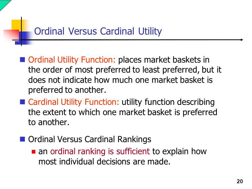 Ordinal Versus Cardinal Utility