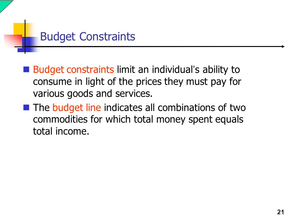 Budget Constraints Budget constraints limit an individual's ability to consume in light of the prices they must pay for various goods and services.