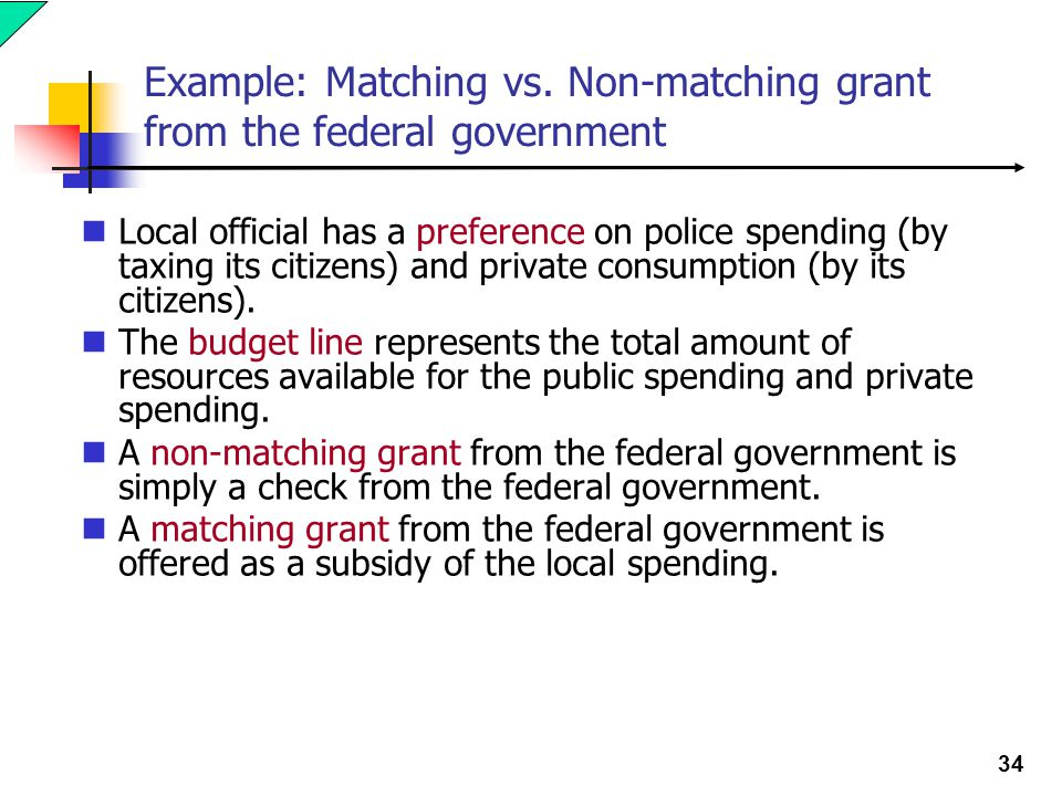 Example: Matching vs. Non-matching grant from the federal government
