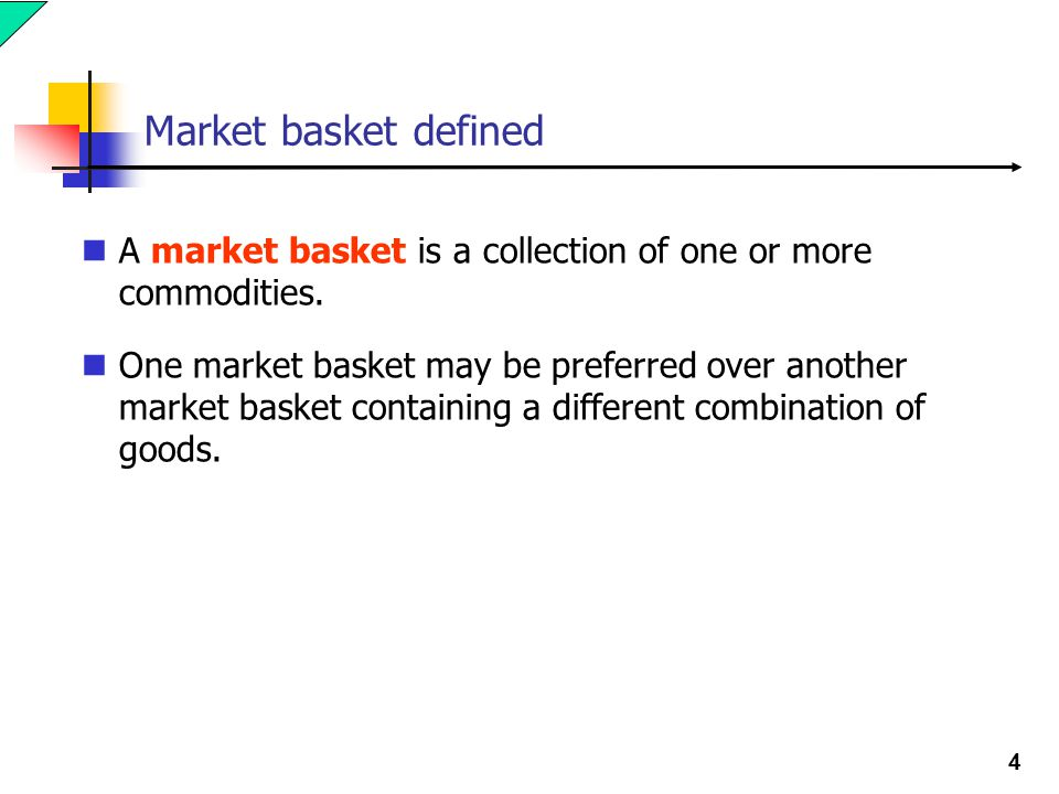 Market basket defined A market basket is a collection of one or more commodities.