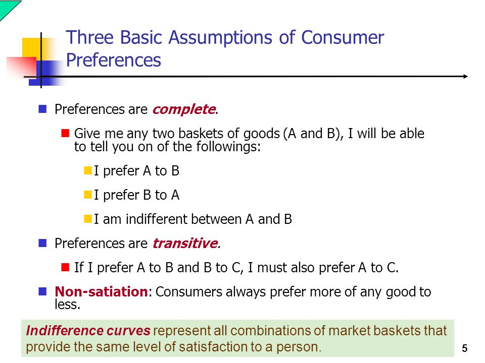 Three Basic Assumptions of Consumer Preferences