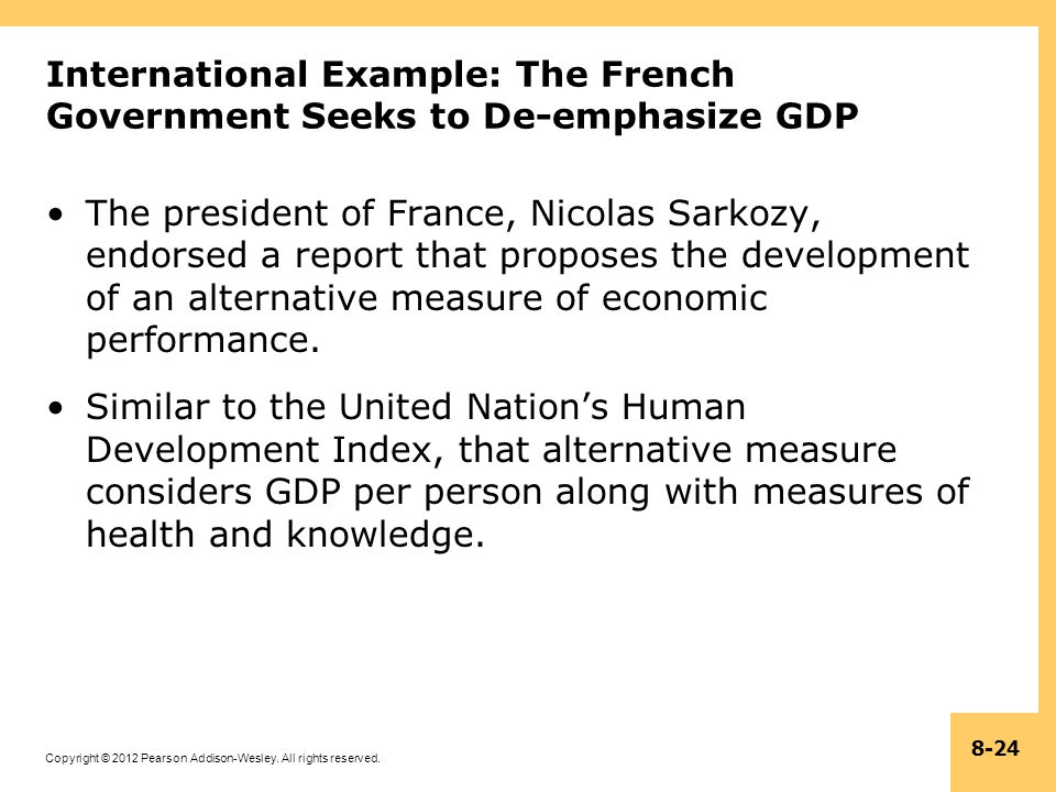 International Example: The French Government Seeks to De-emphasize GDP