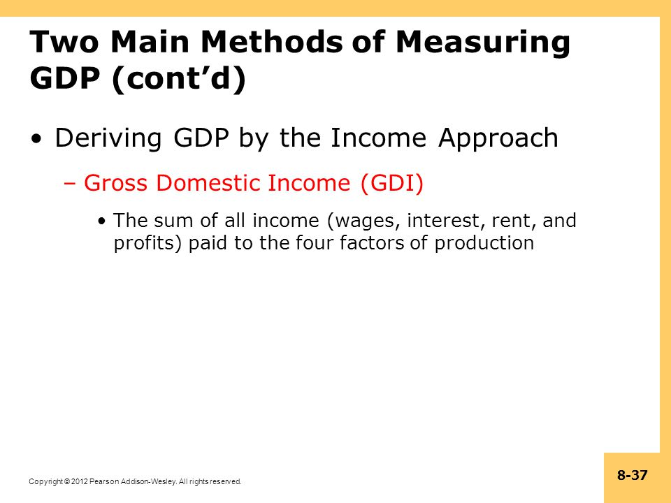 Two Main Methods of Measuring GDP (cont'd)