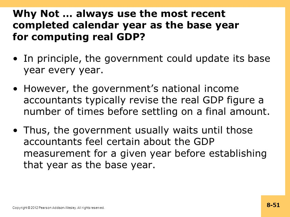 Why Not … always use the most recent completed calendar year as the base year for computing real GDP