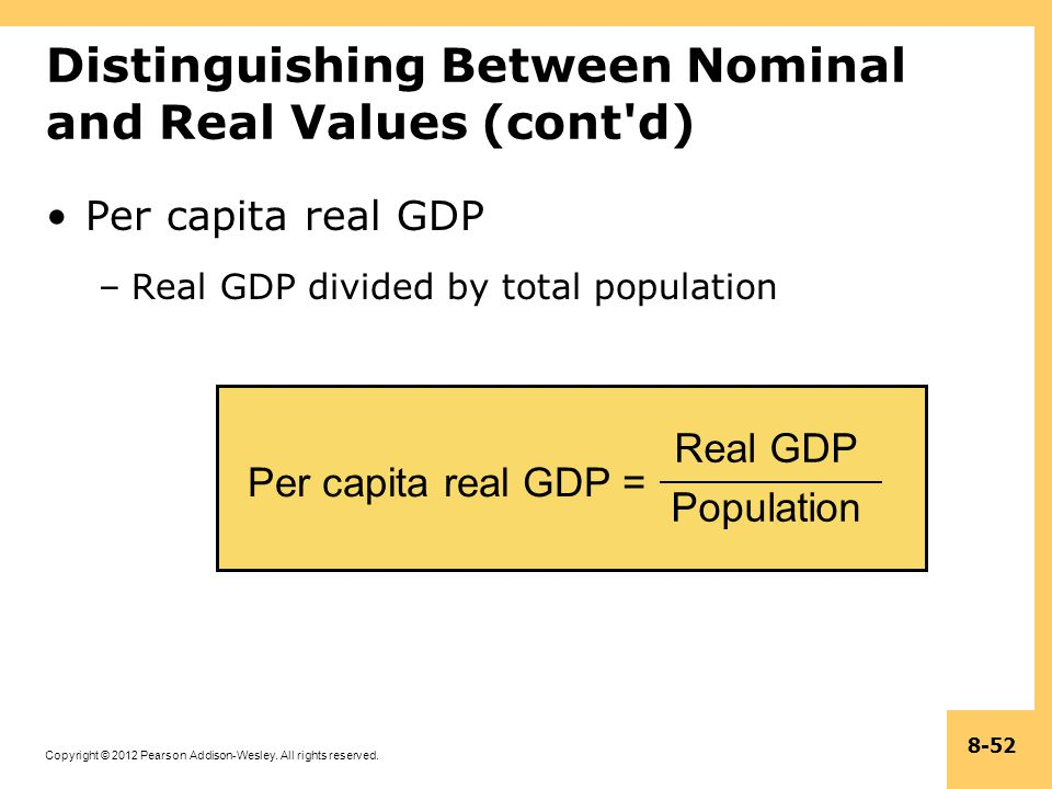 Distinguishing Between Nominal and Real Values (cont d)