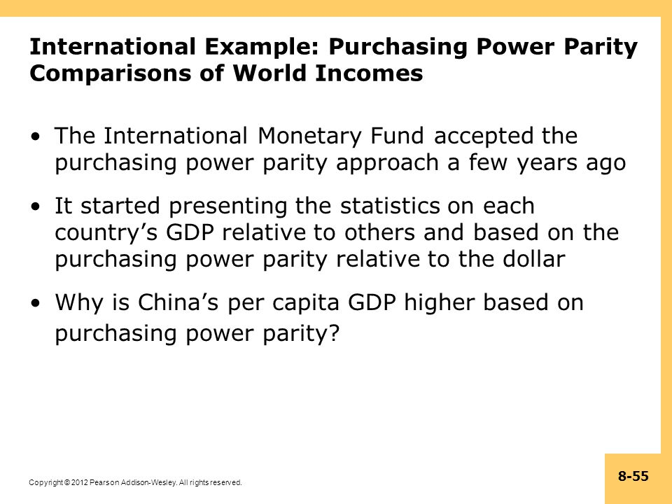 International Example: Purchasing Power Parity Comparisons of World Incomes
