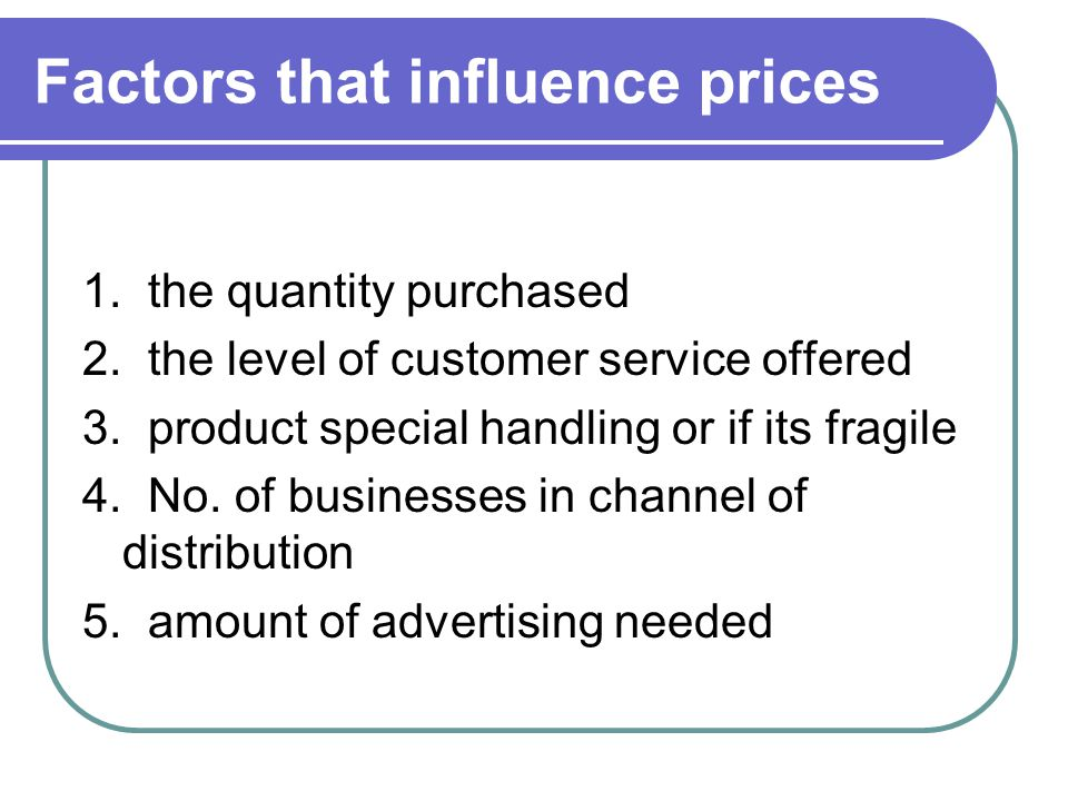 Factors that influence prices