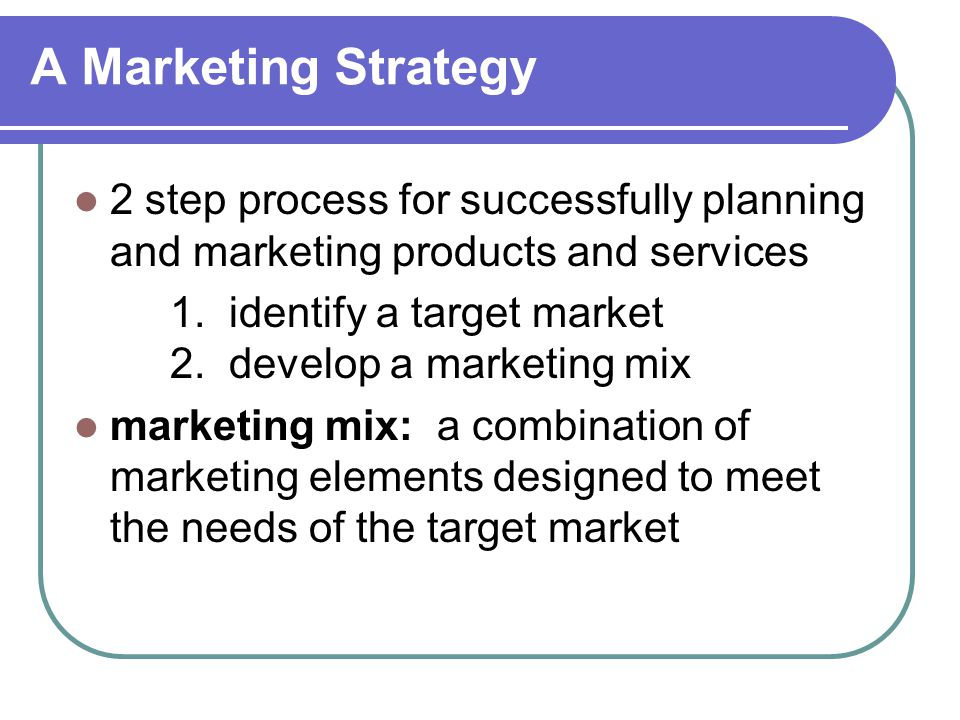 A Marketing Strategy 2 step process for successfully planning and marketing products and services.