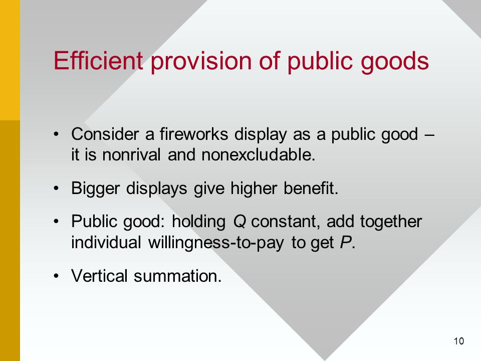 Efficient provision of public goods