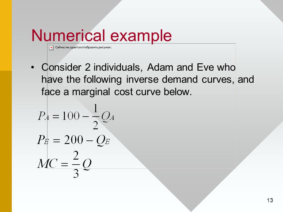 Numerical example Consider 2 individuals, Adam and Eve who have the following inverse demand curves, and face a marginal cost curve below.