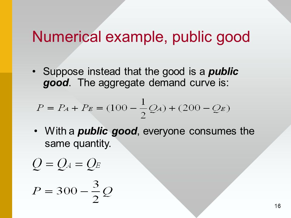 Numerical example, public good