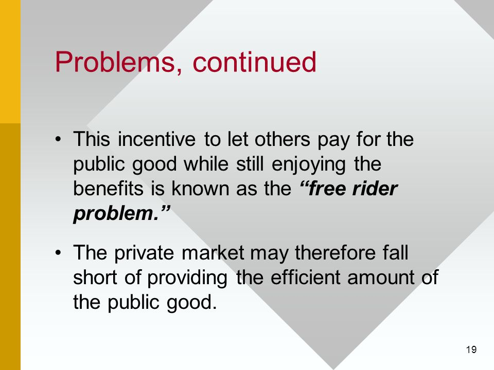 Problems, continued This incentive to let others pay for the public good while still enjoying the benefits is known as the free rider problem.