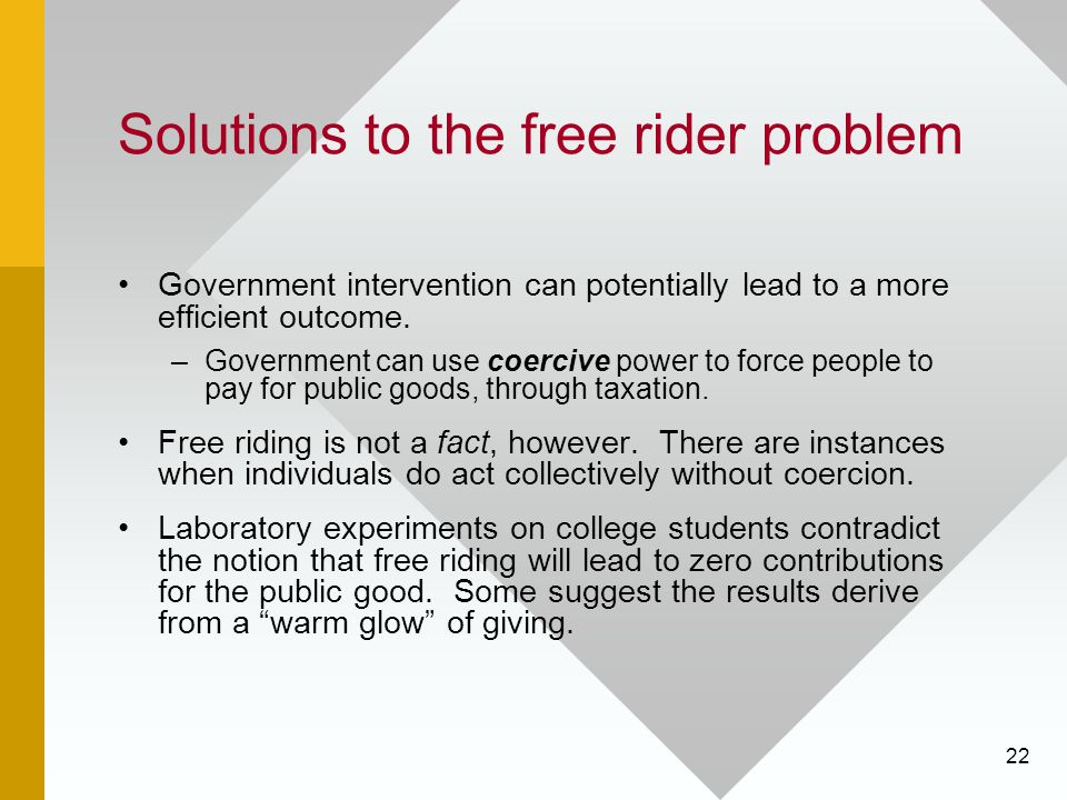 Solutions to the free rider problem