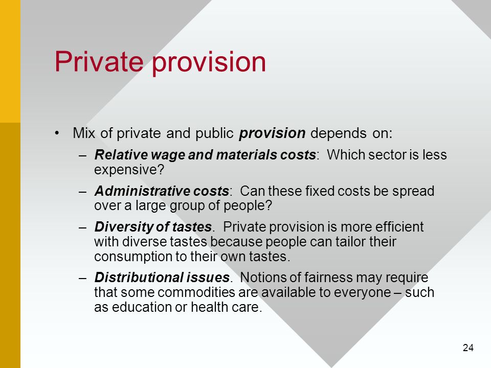Private provision Mix of private and public provision depends on: