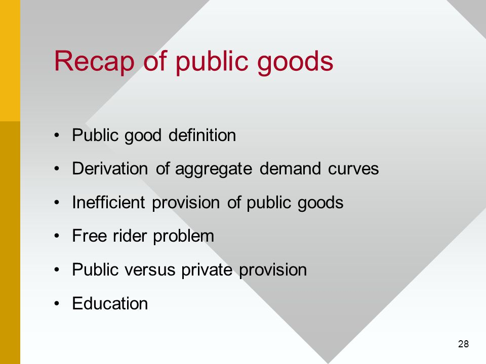 Recap of public goods Public good definition