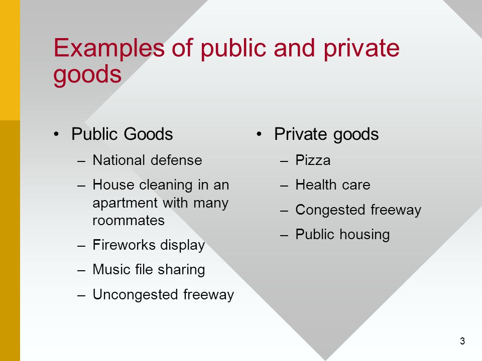 Examples of public and private goods