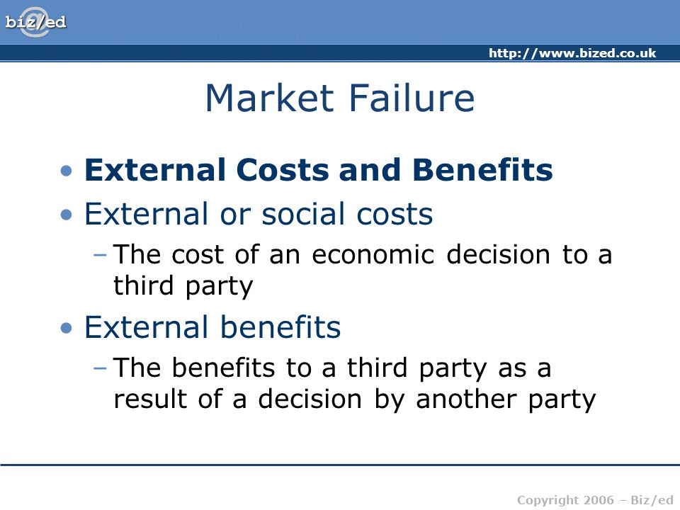 Market Failure External Costs and Benefits External or social costs
