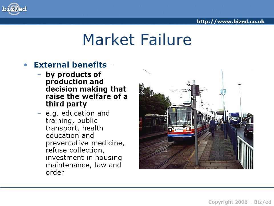 Market Failure External benefits –