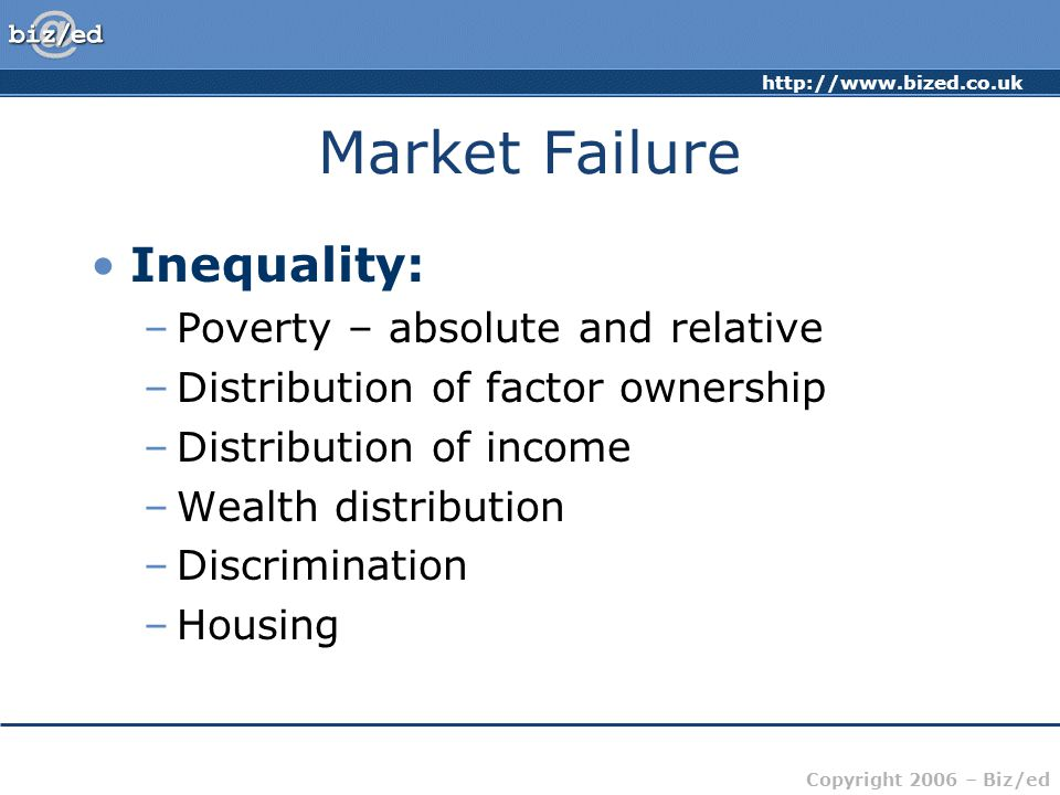 Market Failure Inequality: Poverty – absolute and relative