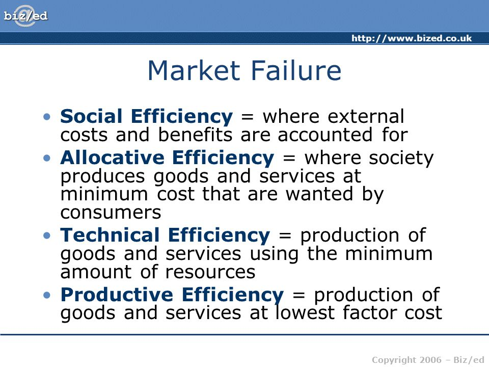 Market Failure Social Efficiency = where external costs and benefits are accounted for.