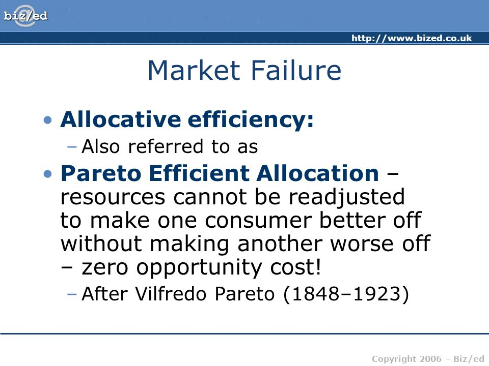 Market Failure Allocative efficiency: