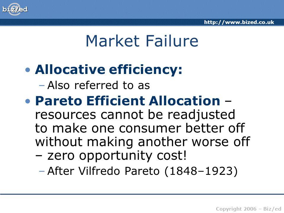 Market Failure Allocative efficiency: